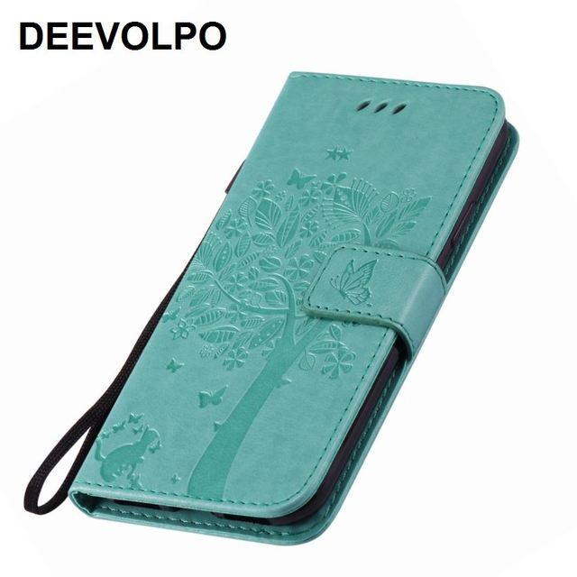 DEEVOLPO слот для карты кожаные чехлы для Oneplus 5 T для htc U11 для Wiko Lenny 4 цветы дерево кошка тиснение сплошной цвет Fundas D06Z