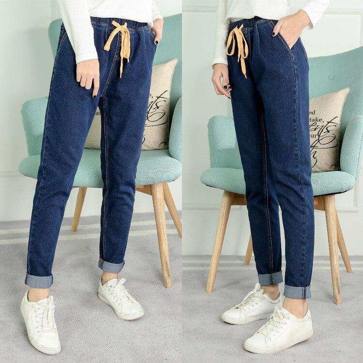 583d6cbc4c47 #2003 de Inverno Quente tamanho Grande Calça Jeans de Veludo Mulheres  XL-5XL Harem Elástico Na Cintura Alta Calça Jeans Boyfriend Jeans Soltos  Feminino Azul ...