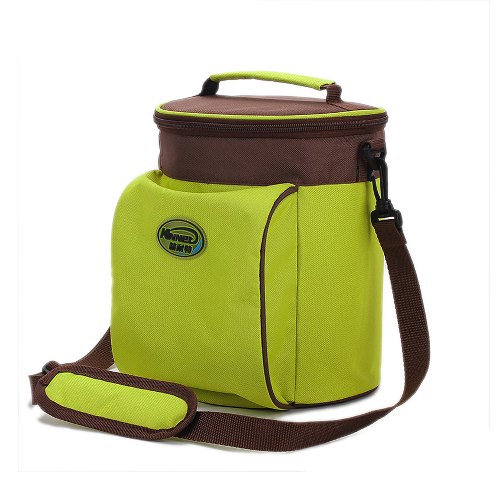 Green Thickened Heat Preservation Barrel Lunch Bag Meal Package Bag Lunch Box Can Carry Portable Insulation Back Ice Cooler Bags bear dfh s2516 electric box insulation heating lunch box cooking lunch boxes hot meal ceramic gall stainless steel
