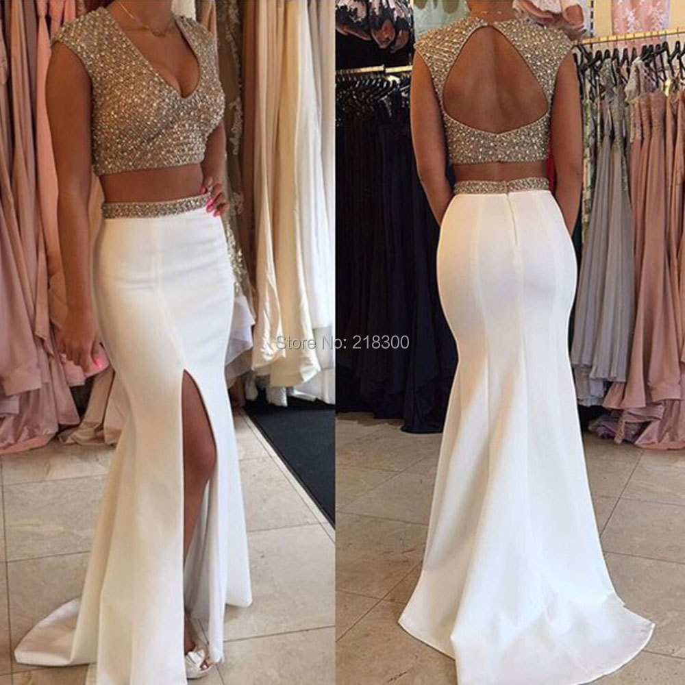Two Piece Prom Dresses White Beaded Sparkly Prom Dresses Mermaid