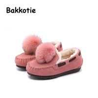 Bakkotie 2017 Fshion cabelo Sable Plana Criança Do Inverno Do Bebê Menina quentes Suaves Sapatos de Criança de Couro Criança Verdadeira Princesa Marca Loafer preto