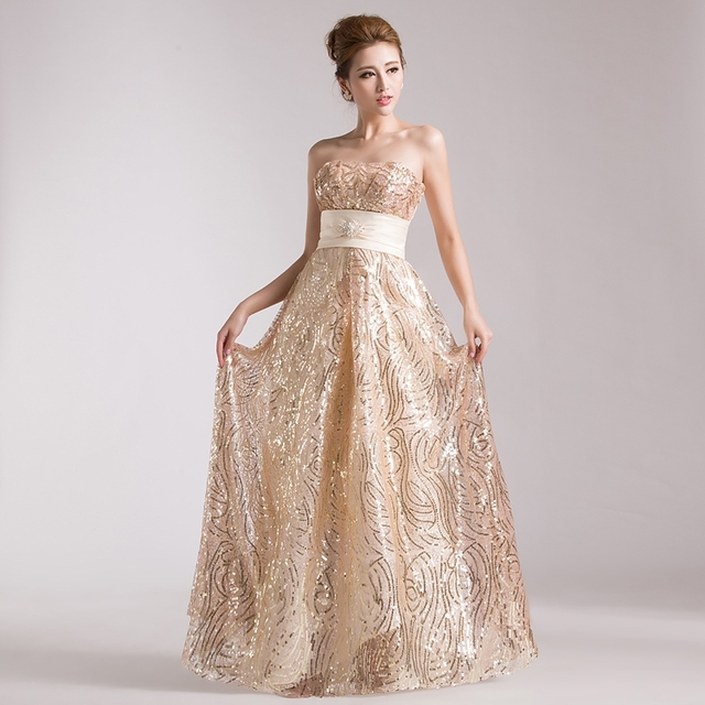 Wedding Dress Tube Top 2018 Princess Bride Long Trailing: 2015 Hot&Sexy Gold Sequined High Waist Long Design Bow