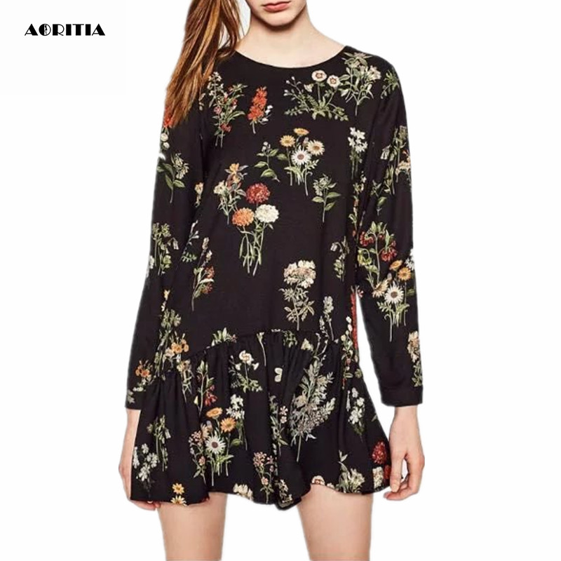 f9ca3abb20b 2017 Women Spring Long Sleeve Floral Print Playsuits Black Chiffon Jumpsuit  Playsuits Overalls Women-in Rompers from Women s Clothing   Accessories