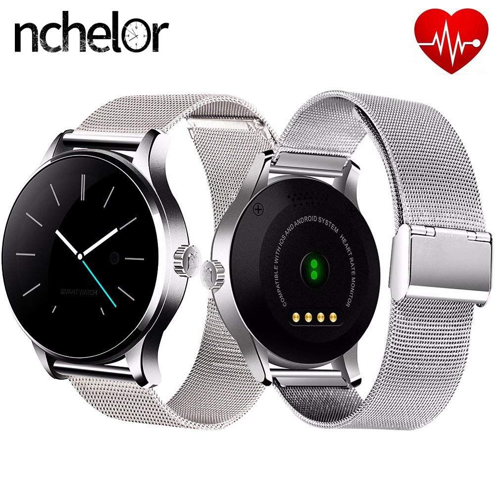 Новый Bluetooth Smart часы с Нержавеющаясталь группа кожаный ремешок монитор сердечного ритма часы Для женщин Для мужчин шагомер для IOS и Android