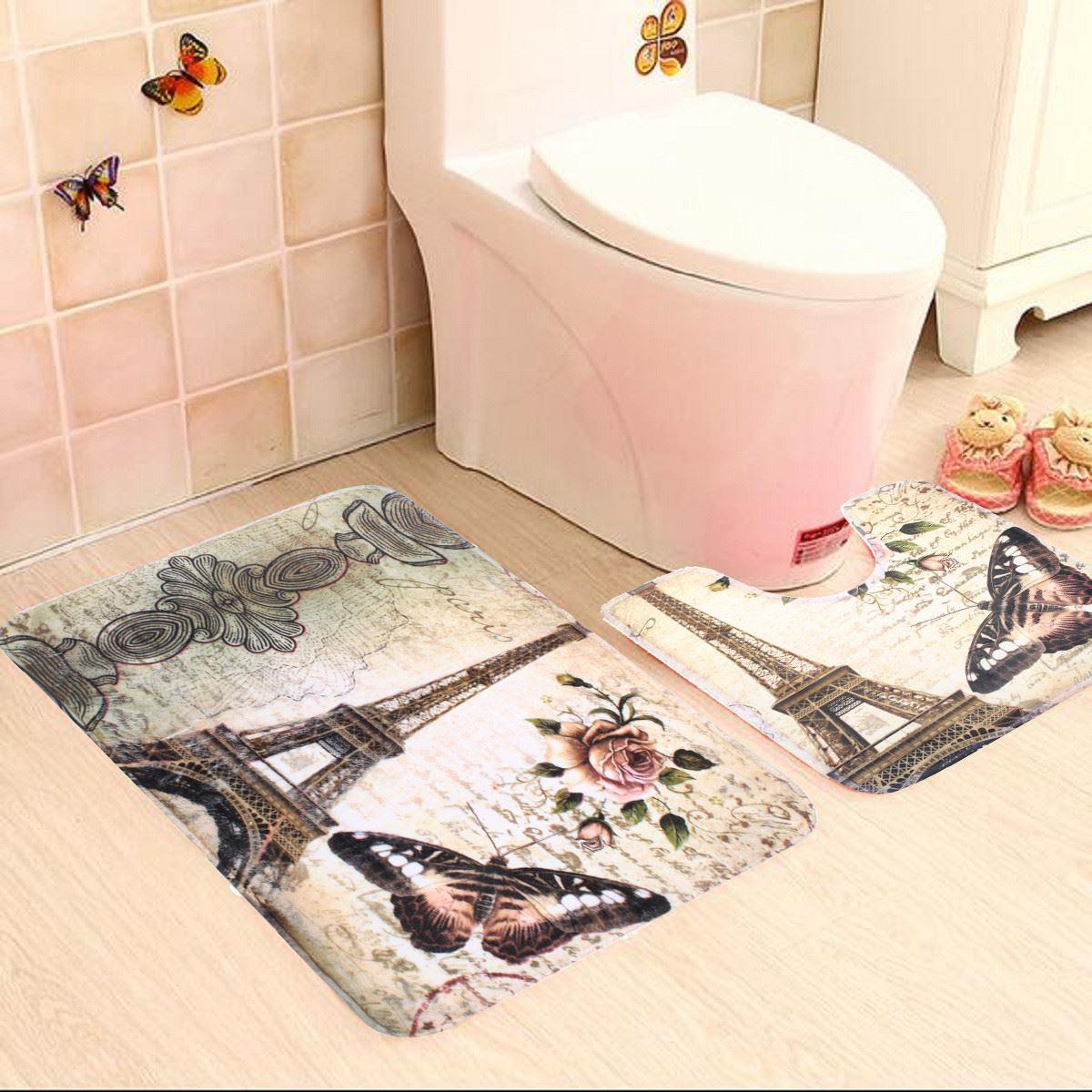 2pcs Soft Paris Eiffel Tower Bath Pedestal Rug Cover Bathroom Bath Mat Set Household Bathroom Carpets