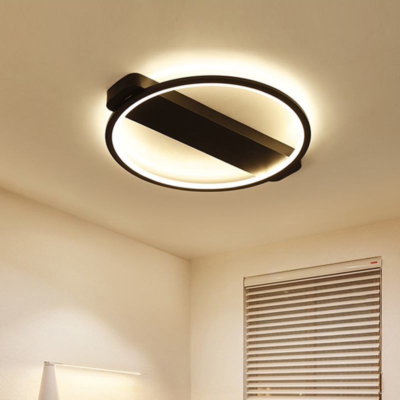 Black Ring Modern LED Ceiling Lights For Dining Room Bedroom Fixtures With Remote Control Dimmer Home Lamp Lamparas De Techo