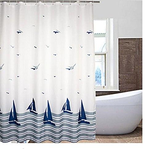 Eforcurtain Beach Pattern Waterproof And Mildew Free Shower Curtain