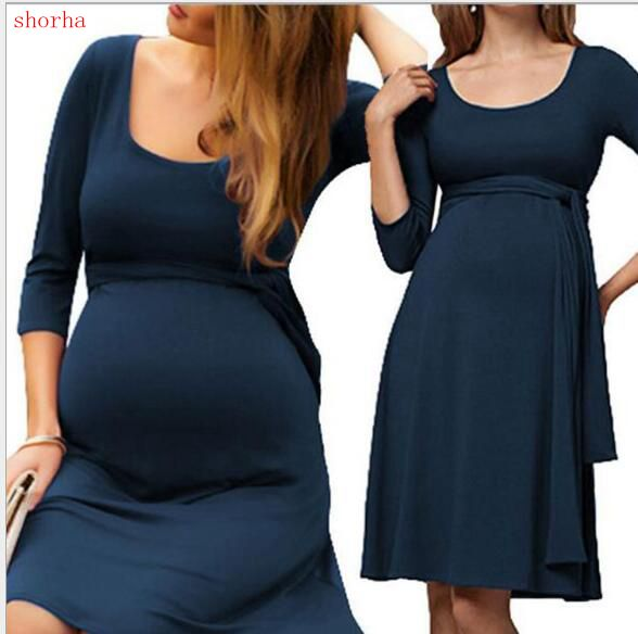 b136300f35a Maternity Dresses Nursing Dress Autumn Winter Pregnancy Clothes for Pregnant  Women Dresses Breastfeeding Maternity Clothing