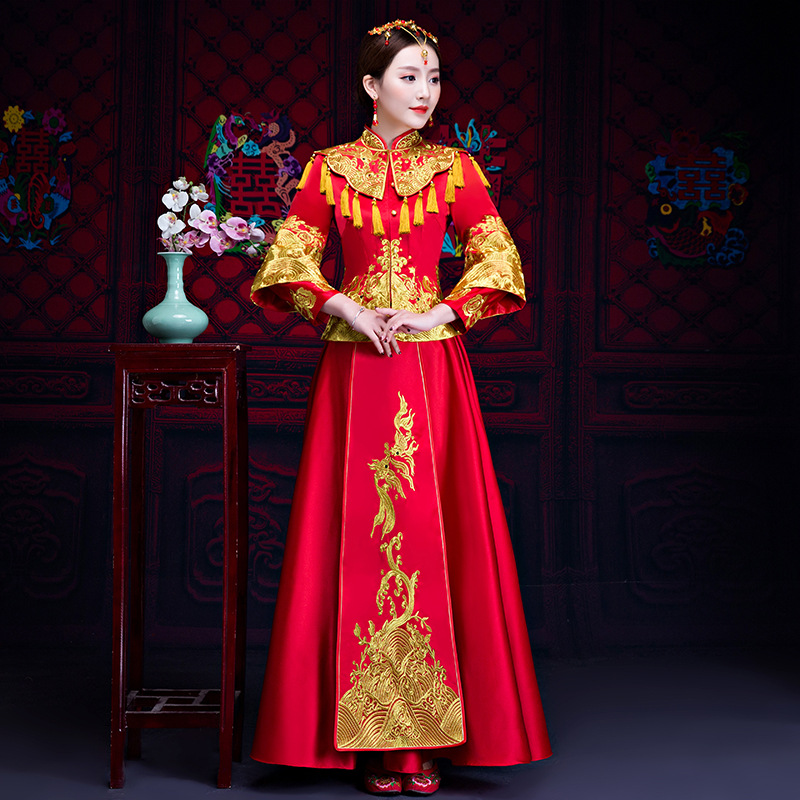 Women Traditional Chinese Red Bride Wedding Gown Dress Modern Loose Cheongsam Long Qipao Embroidery Oriental Style Dresses все цены
