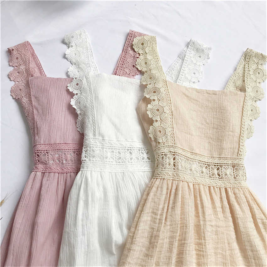 2018 New Summer Hollow Out Lace Tank Dress Women Bow Strapless Chiffon Dresses Backless Sleeveless Party Sundress Vestidos Mw446