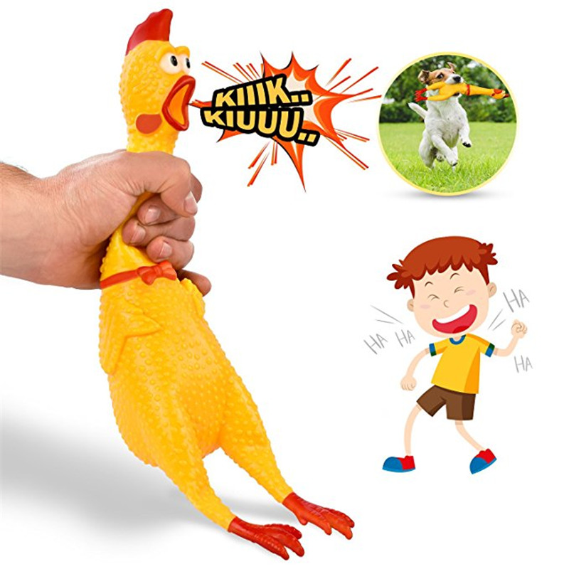 Halloween Screaming Chicken Squeeze Sound Toy 17 CM Yellow Venting Vocalization Toy Decompression Tool Gift For Children
