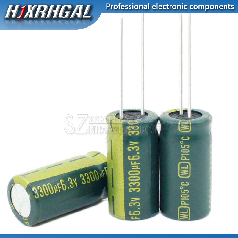 10pcs Aluminum Electrolytic Capacitor 3300uF 6.3V 10*20 Electrolytic Capacitor Hjxrhgal