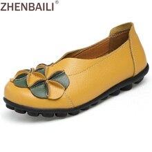 Плюс размеры 34–44 женские тонкие туфли 2017 Демисезонный Мода Аппликации без каблука повседневная обувь мягкие на Настоящая кожа Обувь