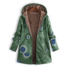 Для женщин меховая подкладка куртки осень 2018 г. Винтаж Пальто с принтом Женский длинным рукавом пальто капюшоном Дамы Верхняя одежда на молни