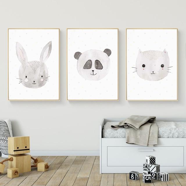 Kawaii Animal Rabbit Cat Fox Wall Art Canvas Posters and Prints ...