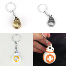Star Wars Force Awakens BB8 Robot Figure Metal keychain BB-8 Light Up LED Torch With sound Keyring