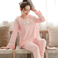 Sweet Cotton Maternity Nursing Sleepwear with Lace Lovely Breast Feeding Pajamas Set Clothes for Pregnant Women Spring Pregnancy