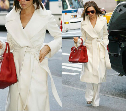 Women's Wool Cashmere Winter Noble Long White Coat New White Outwear Fashion Luxury Plus Size