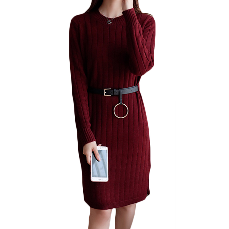 New Striped Women Sweater Dress 2017 Fall Winter Loose Casual Belted Dresses Side Slit Dress Vintage Knitted Dress Vestido XH626