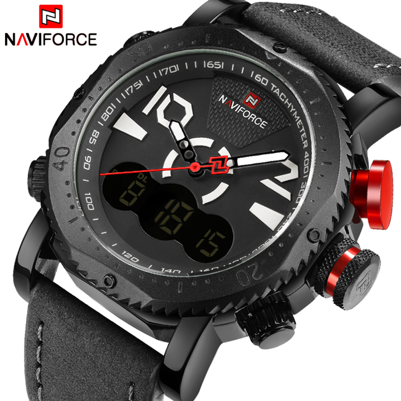 New Top Brand NAVIFORCE Men Analog LED Watches Man Leather Quartz Clock Men's Military Sports Wrist Watch Relogio Masculino 2017 new naviforce fashion brand men sports watches men s waterproof leather quartz clock man military watch relogio masculino