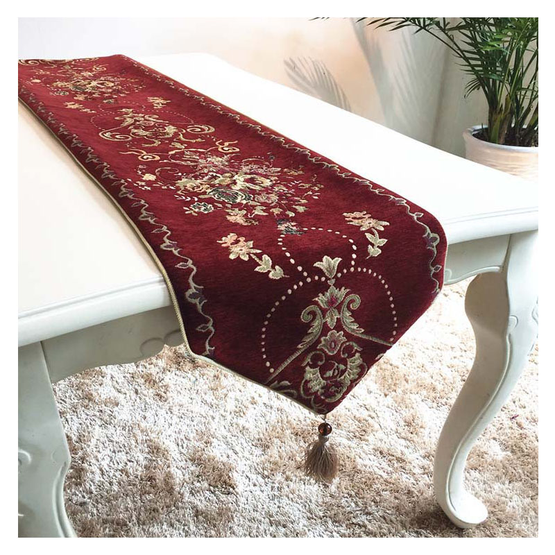 Chinese Style Table Runners For Wedding Floral Embroidered Wine Red Table  Runner For Home Dining Table
