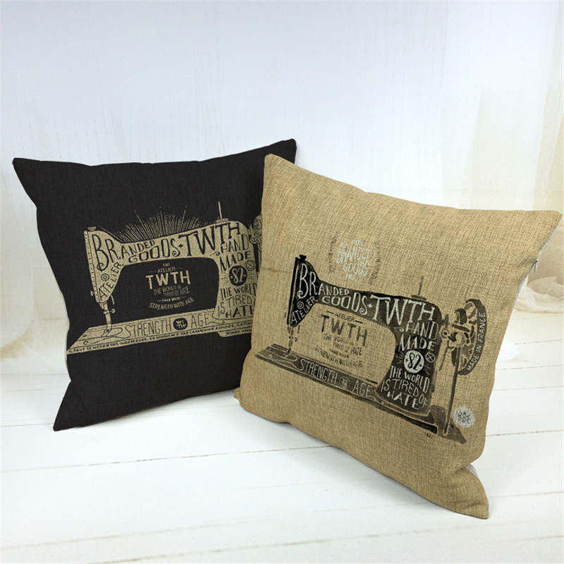 Vintage Style Decorative Throw Pillows Case Cotton Linen Sewing Machine Retro Cushion Cover For Sofa Home