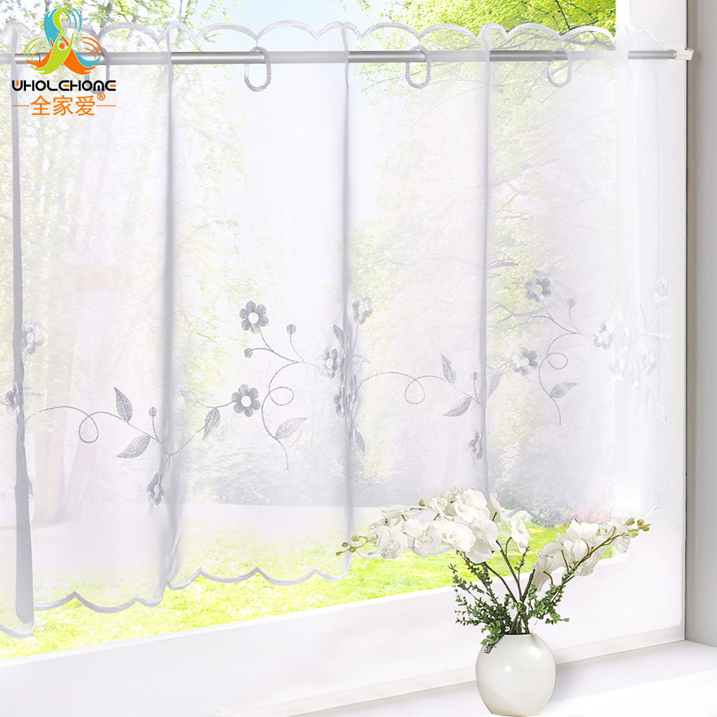 Kitchen cafe curtains - Floral Embroidery Cotton Curtain Fashion Cafe Pastoral Style Small Kitchen Cafe Curtain For The Kitchen Home
