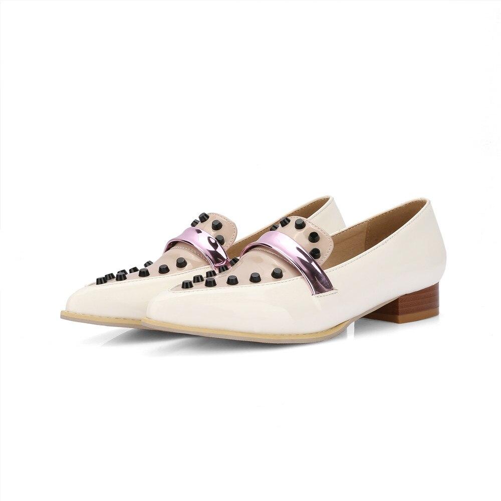 Noir Asumer Casual Noir Bout Printemps Chaussures Appartements Automne Taille Femmes Plates 32 Couleurs Dames Pointu Plus Rivet La beige Mélangées 46 Beige 4A4qR