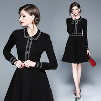 2019 Runway Spring Women's Ladies temperament doll collar black dress long sleeve Office Ladies Notched dresses Femme Vestido