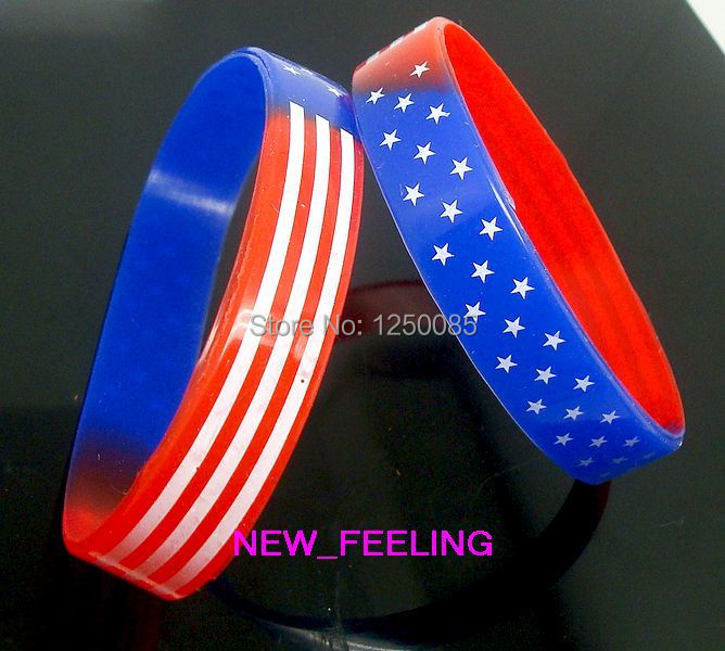 Jewelry & Accessories Bangles Open-Minded 25pcs/lot Usa National Flag Stars&strips Silicone Rubber Elastic Bracelet Wristband For Women Men Fashion Jewelry Latest Technology