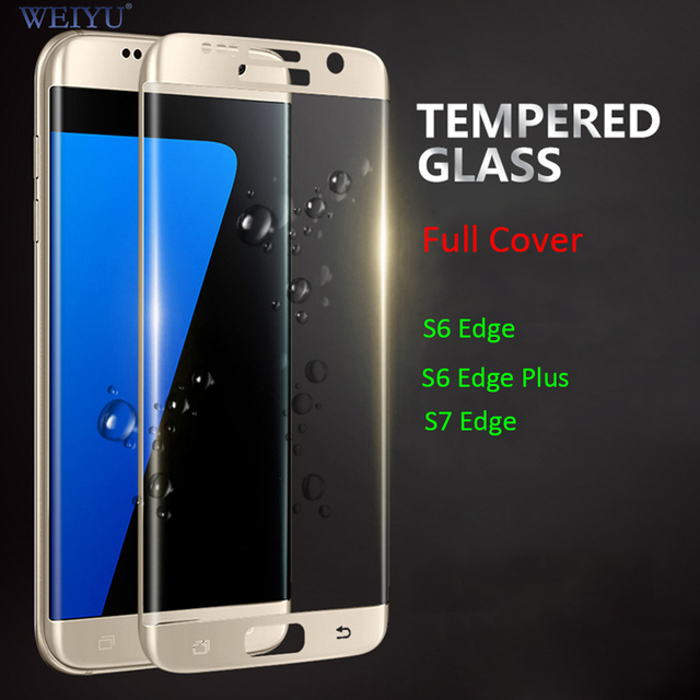 WEIYU 9H 3D Curved Full Cover Explosion-proof Tempered Glass Screen Protector Film for Samsung Galaxy S6 Edge Plus S7 Edge