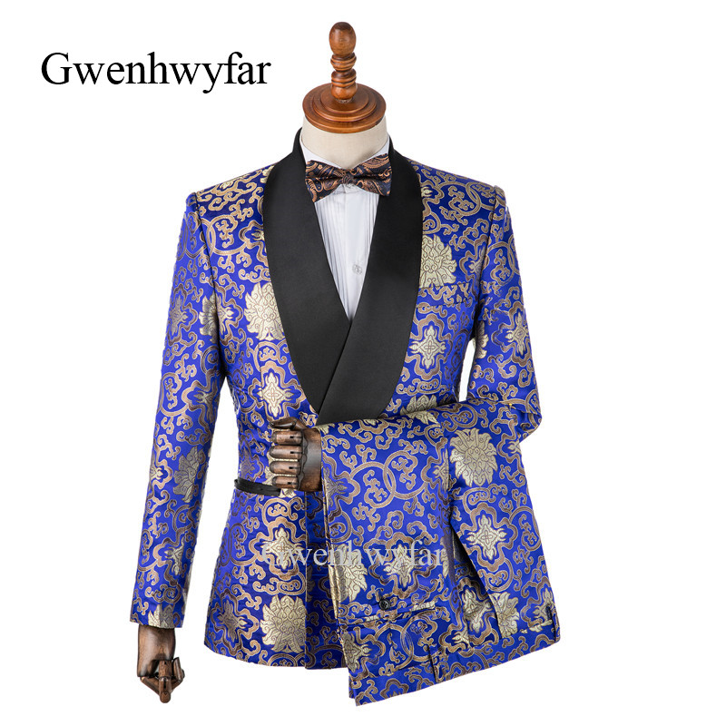 Gwenhwyfar Gold Flower Shawl Lapel Men Suit Royal Blue Brocade Prom Dress Suits Stage Singer Costume Homme Mens Suits With Pants-in Suits from Men's Clothing    1