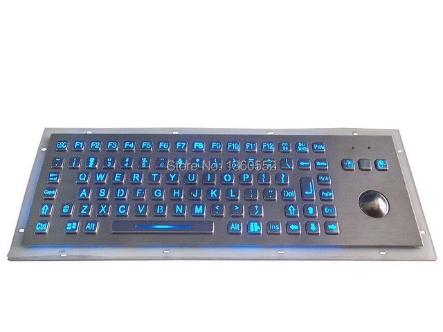 89 Keys Back Light Metal Keyboard With Trackball Backlighted Numeric Key Blue Color LED Backlit