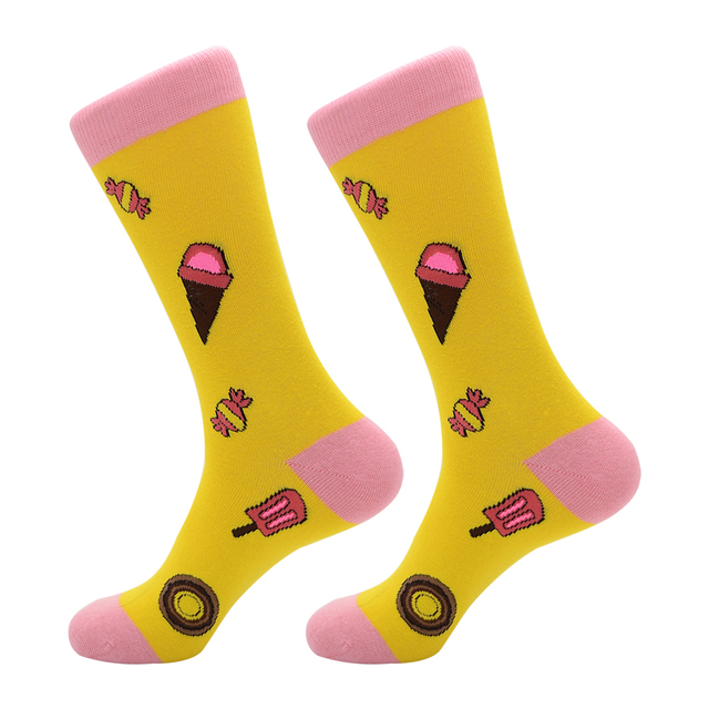 New Arrival Colorful Men's Cotton Crew Funny Socks Watermelon Bee Strawberry Pattern Female Novelty Wedding Socks For Gifts 4