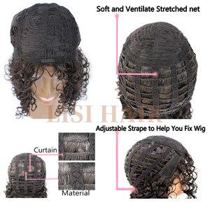 Image 5 - Lisihairロングカーリーウィッグ黒かつら耐熱毛合成かつら黒人女性のためのブラウン黒色高密度