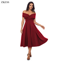 ZKESS Women Sexy Crossed Off Shoulder Pleated Dress Backless Sweet Stylish Fit And Flare A Line