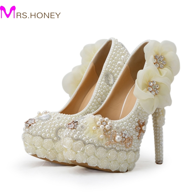 Exclusive New Style Wedding Shoes White Pearl High Heel Platform Bridal Pumps Luxurious Rose Flower