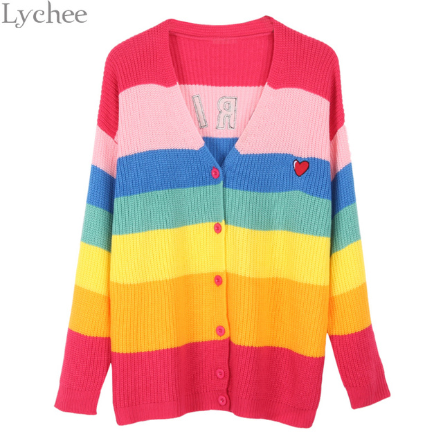 Lychee Spring Autumn Women Sweater Rainbow Stripe Boring Letter Embroidery Long  Sleeve Knit Cardigan 77c40d11e