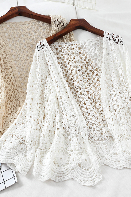Open Lace Cardigan Crocheted Hollow Out Shrug Female Casual White Flower Floral Open Stitch Women Sweater Loose Knitted Outwear 10