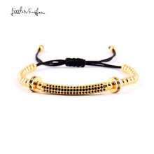 WML 4mm copper bead men bracelet Luxury pave CZ Long Tubes & Rims charm Macrame bracelets & bangles for women jewelry цена