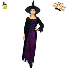QLQ 2018 Lady s Luck Witch Costume Purple Fancy Dress For Girls Halloween  Carnival b726012be4ec