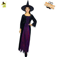 New Lady's Luck Witch Costume Fashion Purple Fancy Dress For Girls Halloween Carnival Masquerade Cosplay party Costumes
