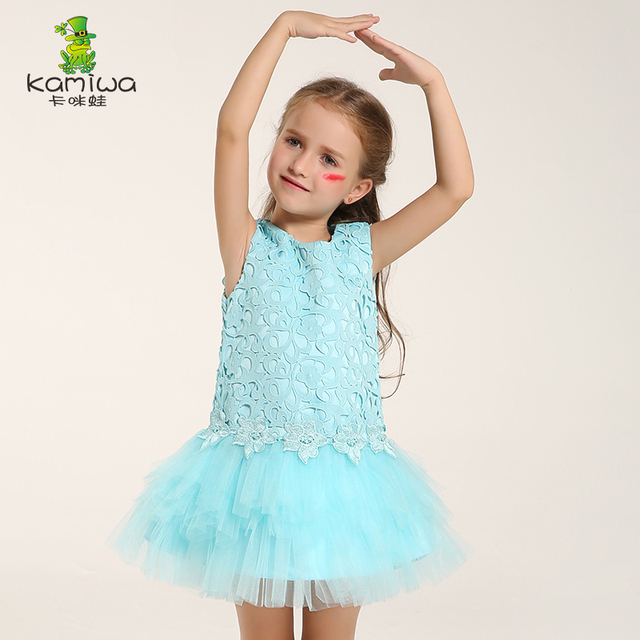 Flower Girl Dresses Wedding Embroidery Junior Bridesmaid Sky Blue Princess  Girl Dress