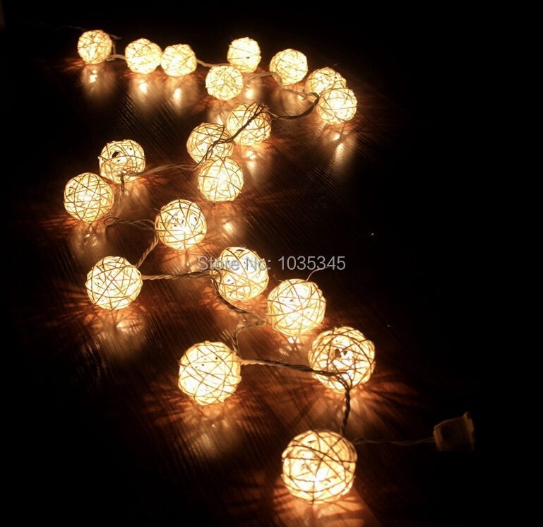 5cm 20 Storm Cream White Rattan Ball Fairy Lights Ideal Wedding Christmas Party String Lights Use For Bedroom Holiday Decoration