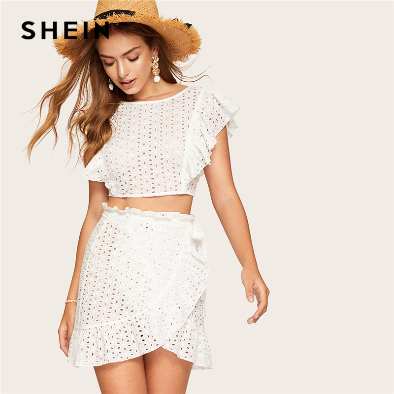 e9a7a6ef06 SHEIN White Lace Eyelet Ruffle Backless Knot Crop Top and Wrap Belted Mini  Skirt Set Women