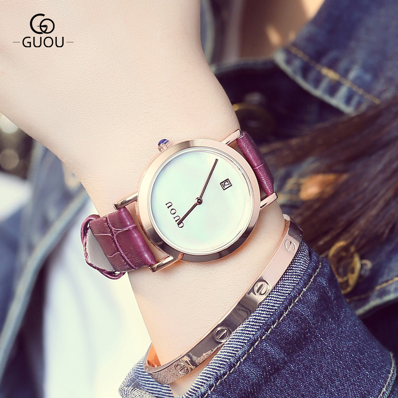 relojes mujer 2017 GUOU Brand Casual Women watches Fashion Simple Ladies Quartz Watch Waterproof Leather Clock relogio feminino read fashion watch women dress quartz watch casual ladies wrist watch women relogio feminino relojes mujer leather clcok r2012