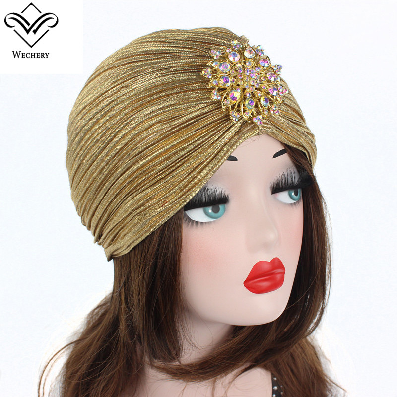 Wechery Women's Cap Arab Qatar Saudi Muslim Style Hat for Women Jewelry Decorated Pleated Beanie Black Silver Gold
