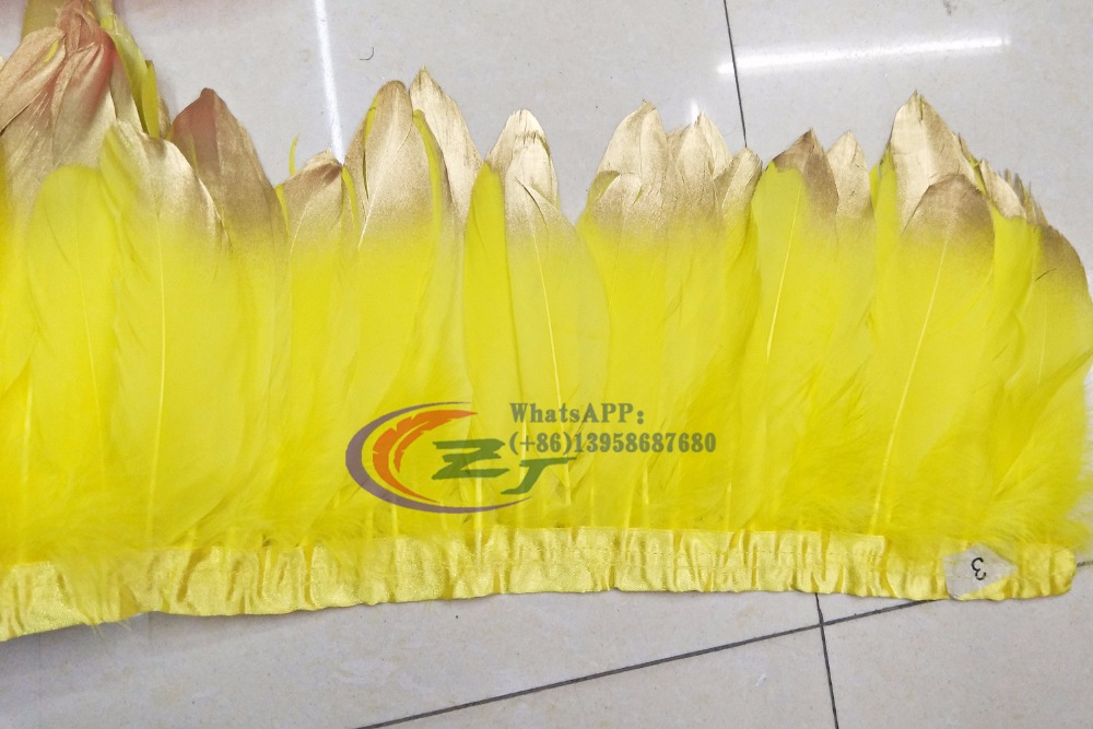 2 yards Yellow Goose feather trims Gold Tips Goose feather ribbons /15-18cm Duck feather fringes Free shipping