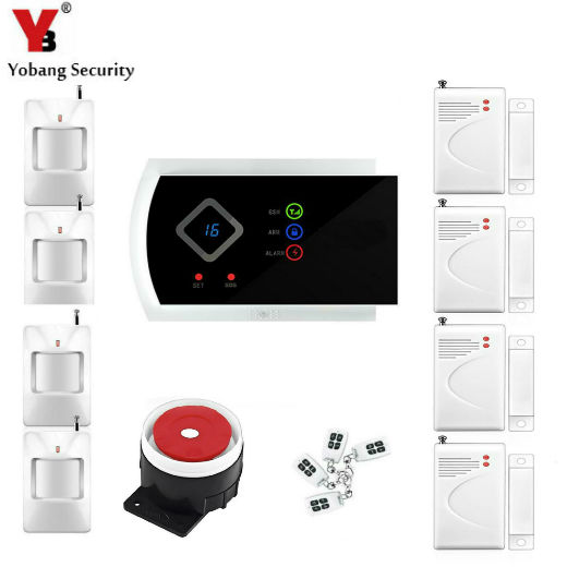 YobangSecurity 99 Wireless 2 Wired Zones G10A GSM SMS Home House Security Alarm System Android APP Control PIR DOOR Alarm Sensor wireless gsm sms burglar alarm home security system with pir motion sensor door magnet sensor app control ios android