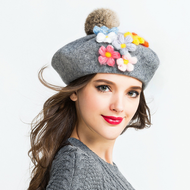 b6b7296f Winter Warm Wool Women's Top Fur Ball pom poms Beret Hat For Laday Artist Embroidery  Cap